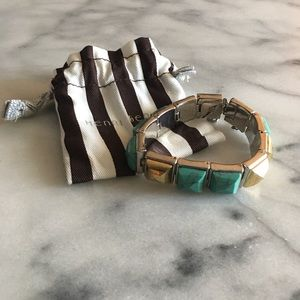 Henri Bendel turquoise and gold pyramid bracelet